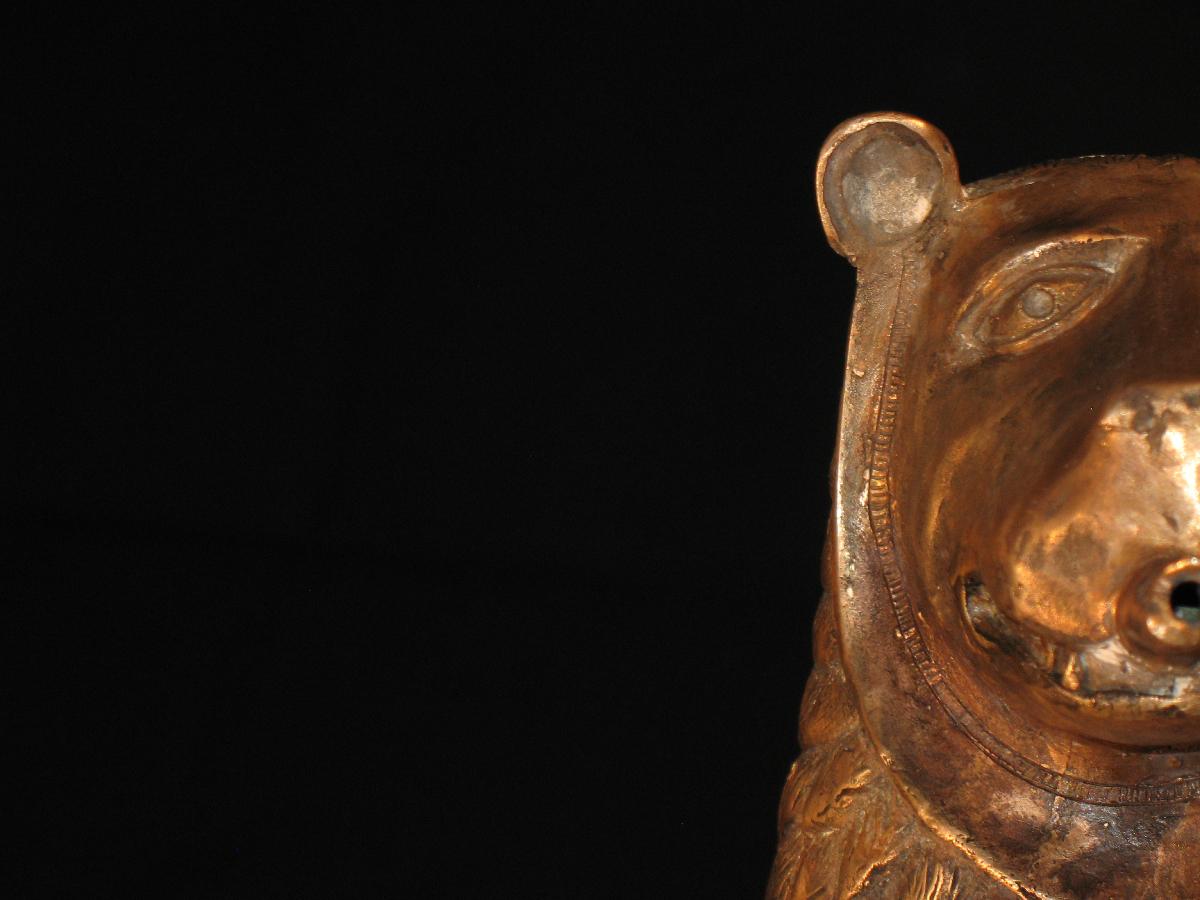 Portrait eines bronzenen Löwen Aquamaniles
